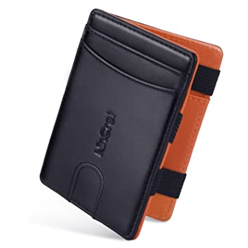 2ac2361e4e3c WinCret Slim RFID Blocking Wallet Mens - Genuine Leather Magic Wallet with  Zippered Coin Pocket &