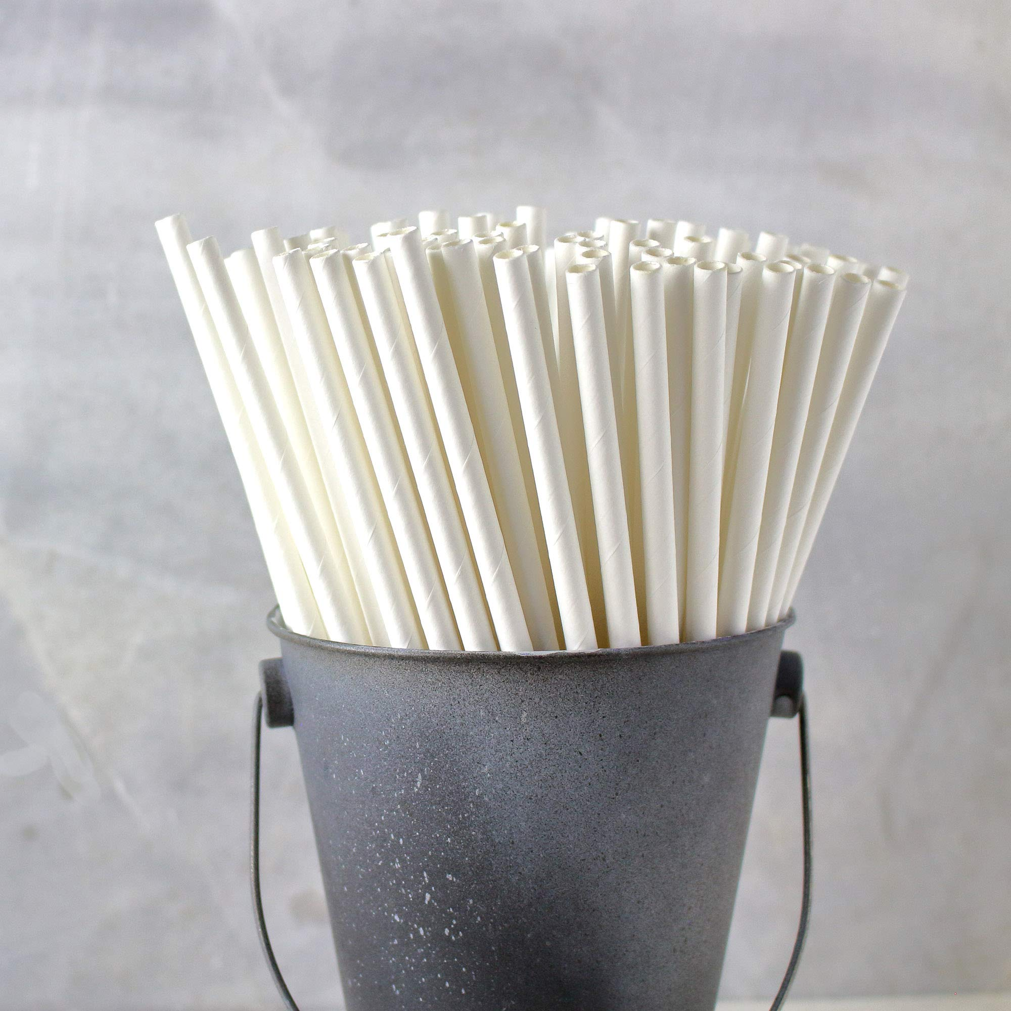The Spice Lab Drinking Eco-Friendly Biodegradable Paper Straws 7.75'', 6mm for Juice, Shakes, Cocktail, Tea, Soda, Milkshakes, Smoothies & Parties (White - 10000 Count) by The Spice Lab