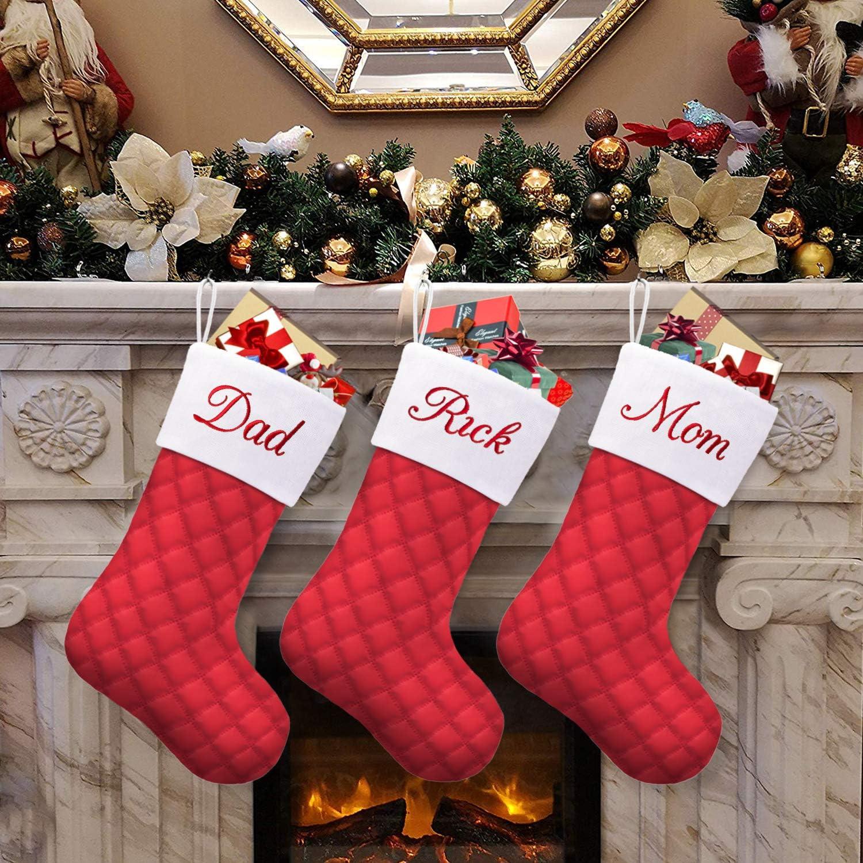 Caraknots Personalized Christmas Stockings 3 Pack Large Quilted Christmas Stockings Red Embroidery Custom Monogram Name Family Farmhouse Holiday Party Decoration Xmas Fireplace