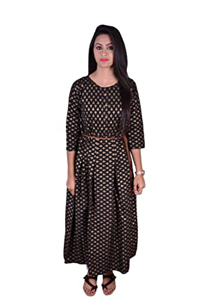 54f466b10d41 Women s Gorgeous Black and Golden Dress with Special Polka dot Design Latest  2019 Design with Belt and ¾ Sleeves Cotton