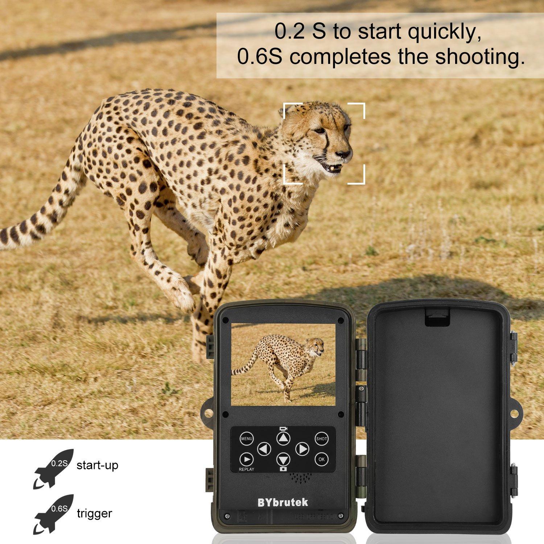 BYbrutek Wildkamera, 16MP 1080P Full HD Jagdkamera Trail Kamera mit Weitwinkel Bewegungsmelder 0.2S Trigger Time, Überwachungskamera mit 20m Nachtsicht 46pcs IR LEDs 2.4\