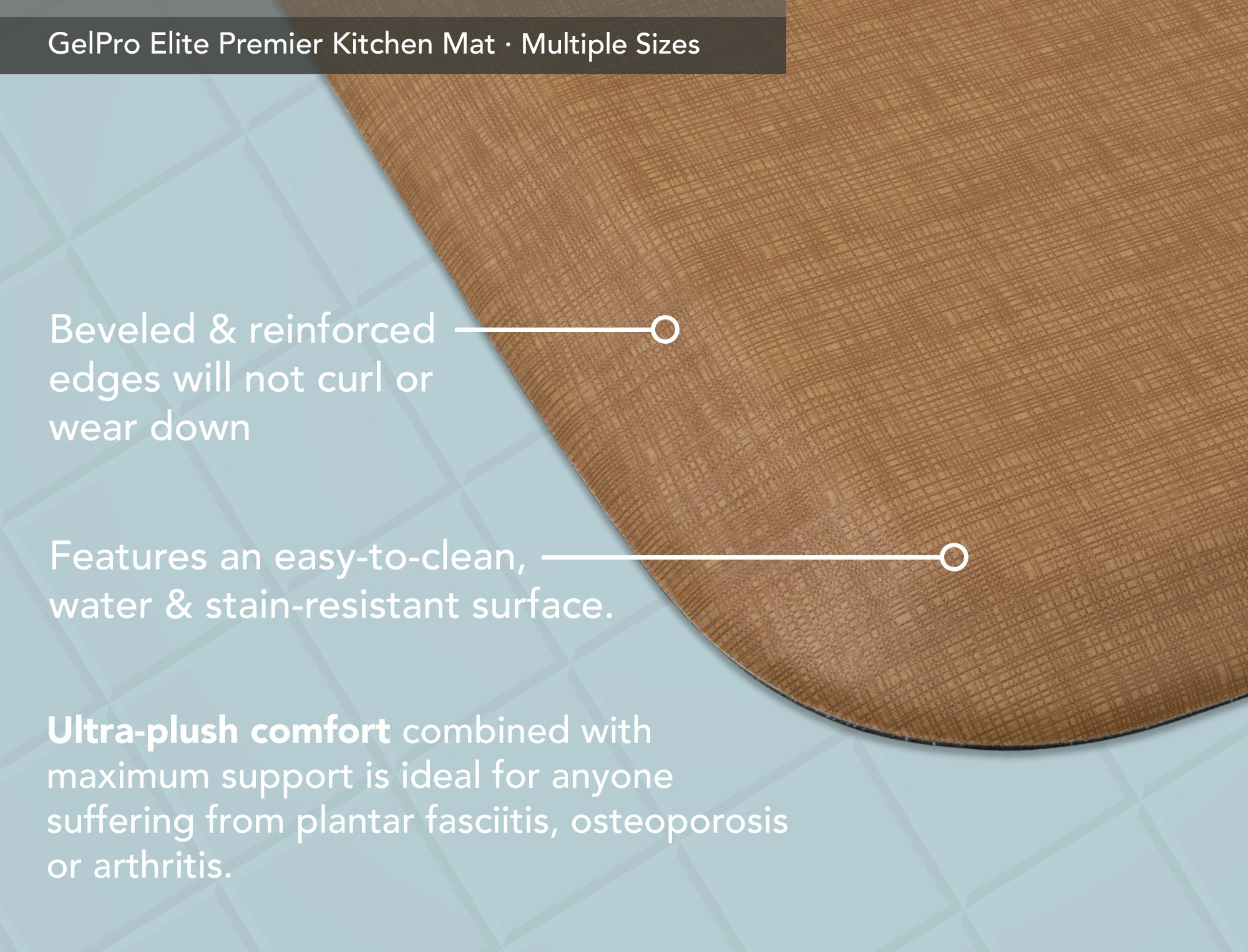 "GelPro Elite Premier Anti-Fatigue Kitchen Comfort Floor Mat, 20x48"", Linen Khaki Stain Resistant Surface with Therapeutic Gel and Energy-return Foam for Health and Wellness by GelPro (Image #4)"