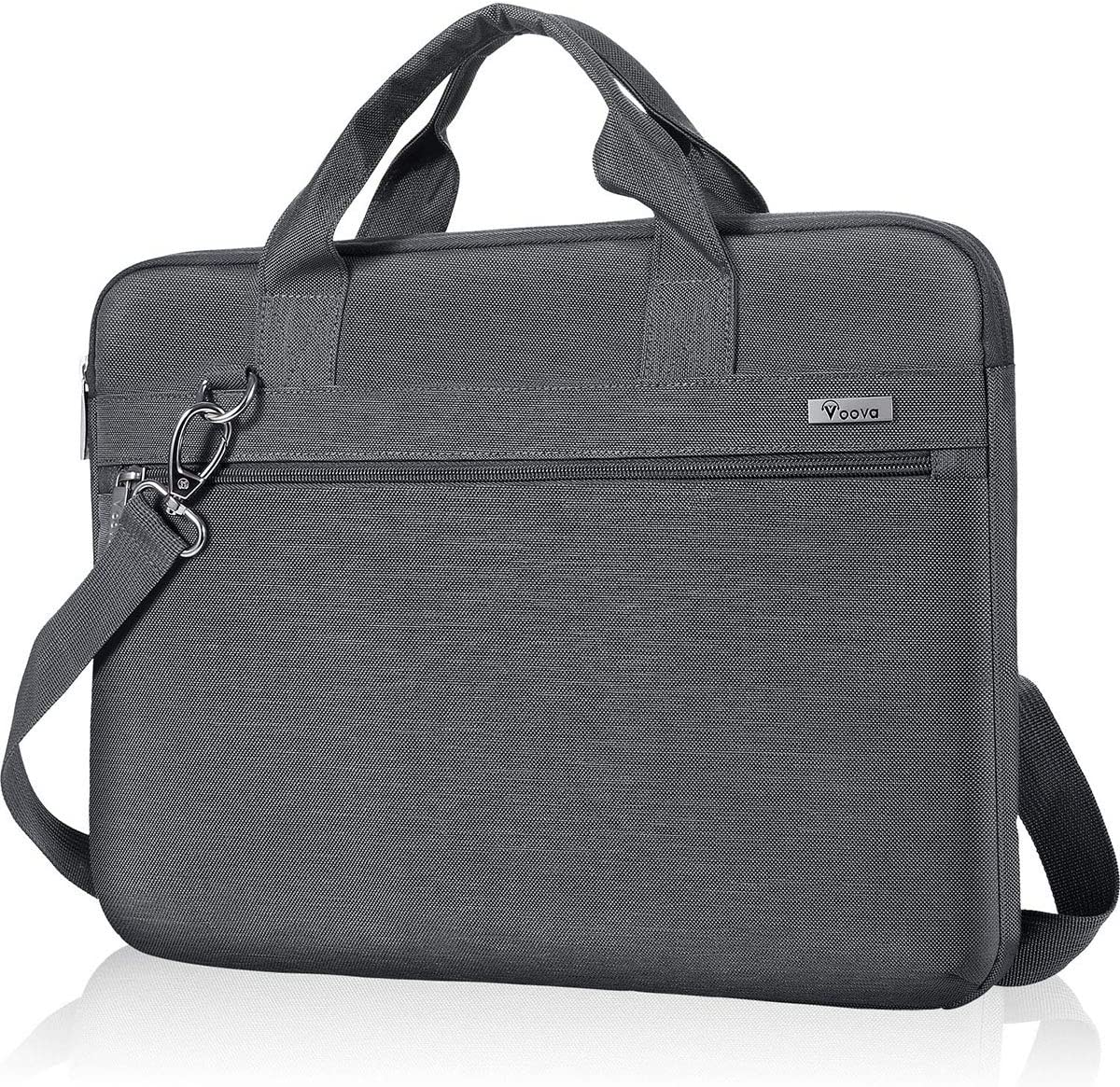 Voova Laptop Sleeve Shoulder Bag 14-15.6 Inch Carry Case, Upgrade Computer Messenger Briefcase Compatible with MacBook Pro 16 15, Surface Book 2 15, Asus Acer Dell Hp Chormebook with Organizers, Grey
