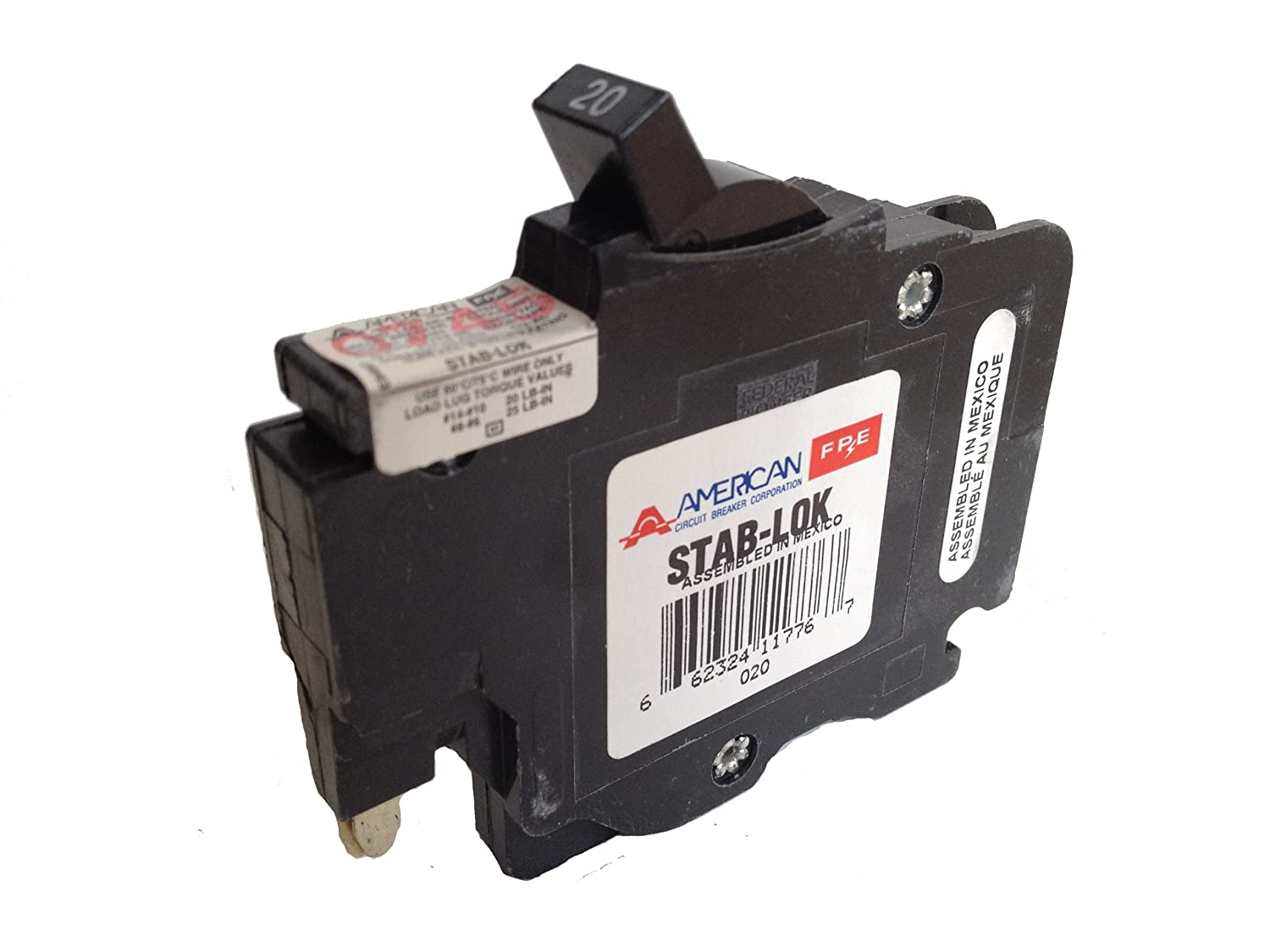 American/Federal Pacific Circuit Breaker, 1-Pole 20-Amp Thin Series ...