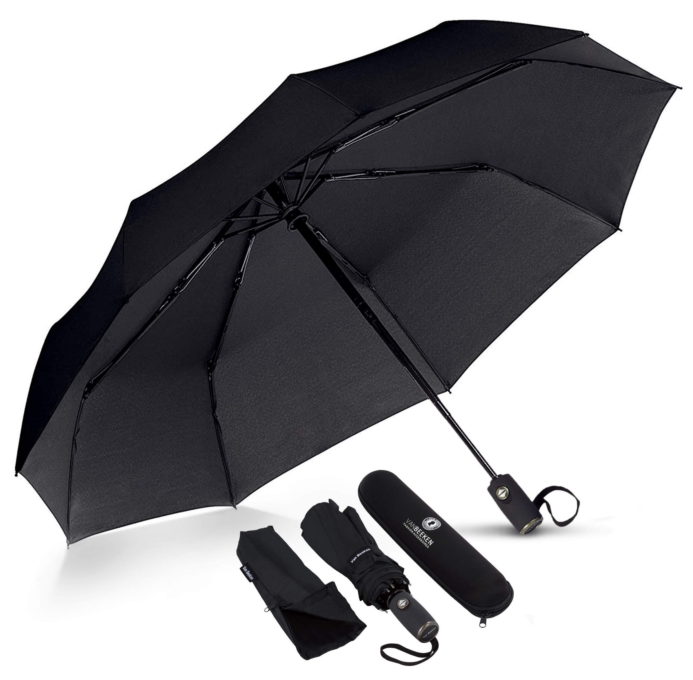 VAN BEEKEN Umbrella Windproof I Wind Resistant Travel Umbrella with Teflon I Light Compact Umbrella I Mini Umbrella Portable Folding Umbrella for Men Women (Black)