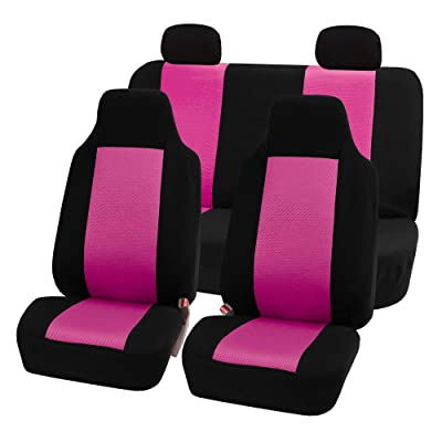 FH Group FB102PINK114-AVC FB102PINK114 Classic Full Set High Back Flat Cloth Seat Covers, Pink/Black-Fit Most Car, Truck, SUV, or Van: Automotive