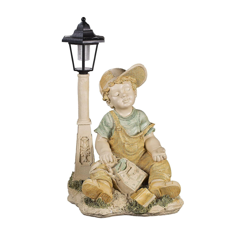 Deko Figur Junge LED Solar Lampe für Innen und Außen 42cm hoch NF28801F