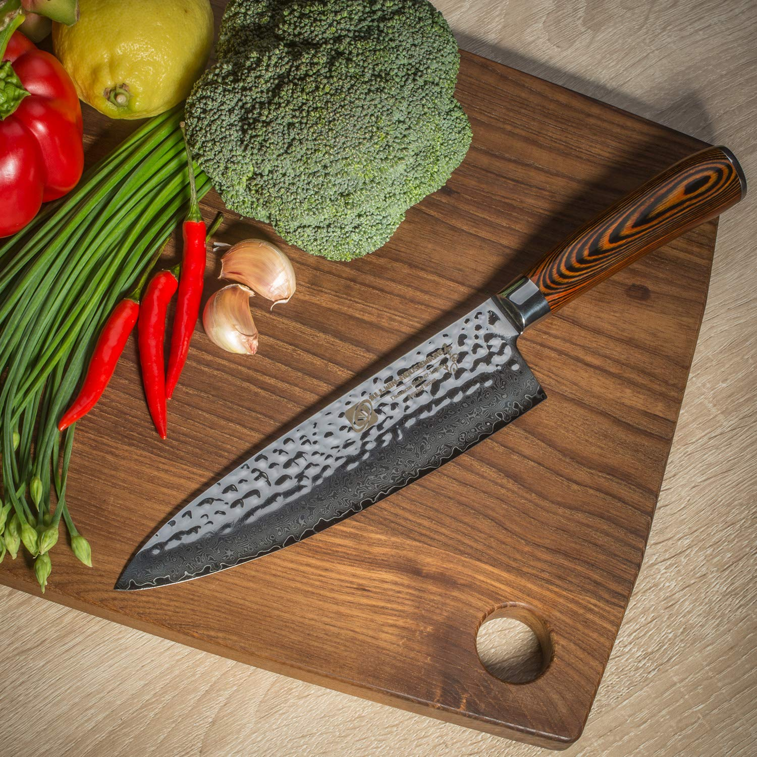 Damascus Chef Knife with Japanese VG10 Super Steel Core, Professional 67-layer Handmade 8'' PAKKA Wood Handle Damascus Chefs Knife by ALLWIN-HOUSEWARE W (Image #4)