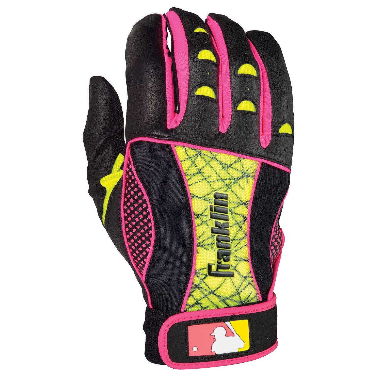 Franklin Insanity II Womens Fastpitchバッティング手袋 B00H56KNFEBlack/Neon Pink/Optic Yellow Large
