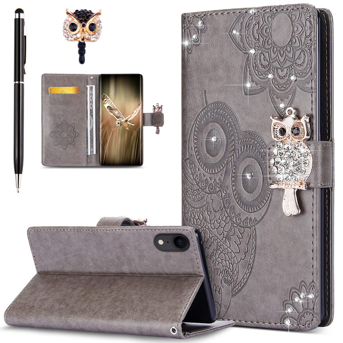 ikasus Case for iPhone Xs Max Cover,Bling Diamonds Glitter Embossing Mandala Owl PU Leather Fold Wallet Flip Stand Protective Case Cover Dust Plug /& Stylus for iPhone Xs Max Wallet Case,Rose Gold