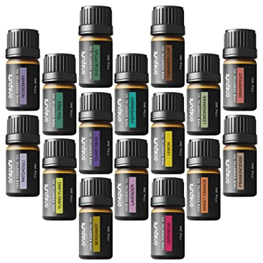 Onepure Aromatherapy Essential Oils Gift Set, 16 Bottles/ 5ml Each, 100% Pure (Ylang Eucalyptus Lemon Peppermint Lavender Lemongrass Clary Sage Rosemary and More)