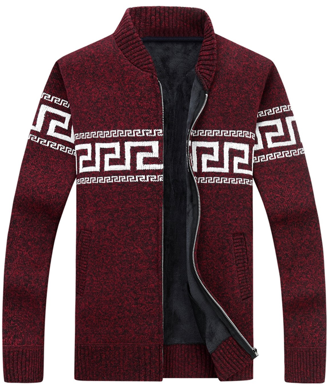 HOWON Men's Casual Thick Knitted Zipper Cardigan Sweater Red L
