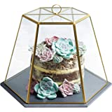 "Artesà Geometric Glass Cheese / Cake Dome with Slate Serving Board, 31 x 27.5 x 25 cm (12"" x 11"" x 10"") - Brass Effect"
