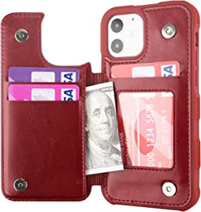 Restoo Compatible with iPhone 12/12 Pro Case,Wallet Case with Card Holder PU Leather 4 Card Slot Back Flip Cover for iPhone 12/12 Pro 6.1 inch,Red