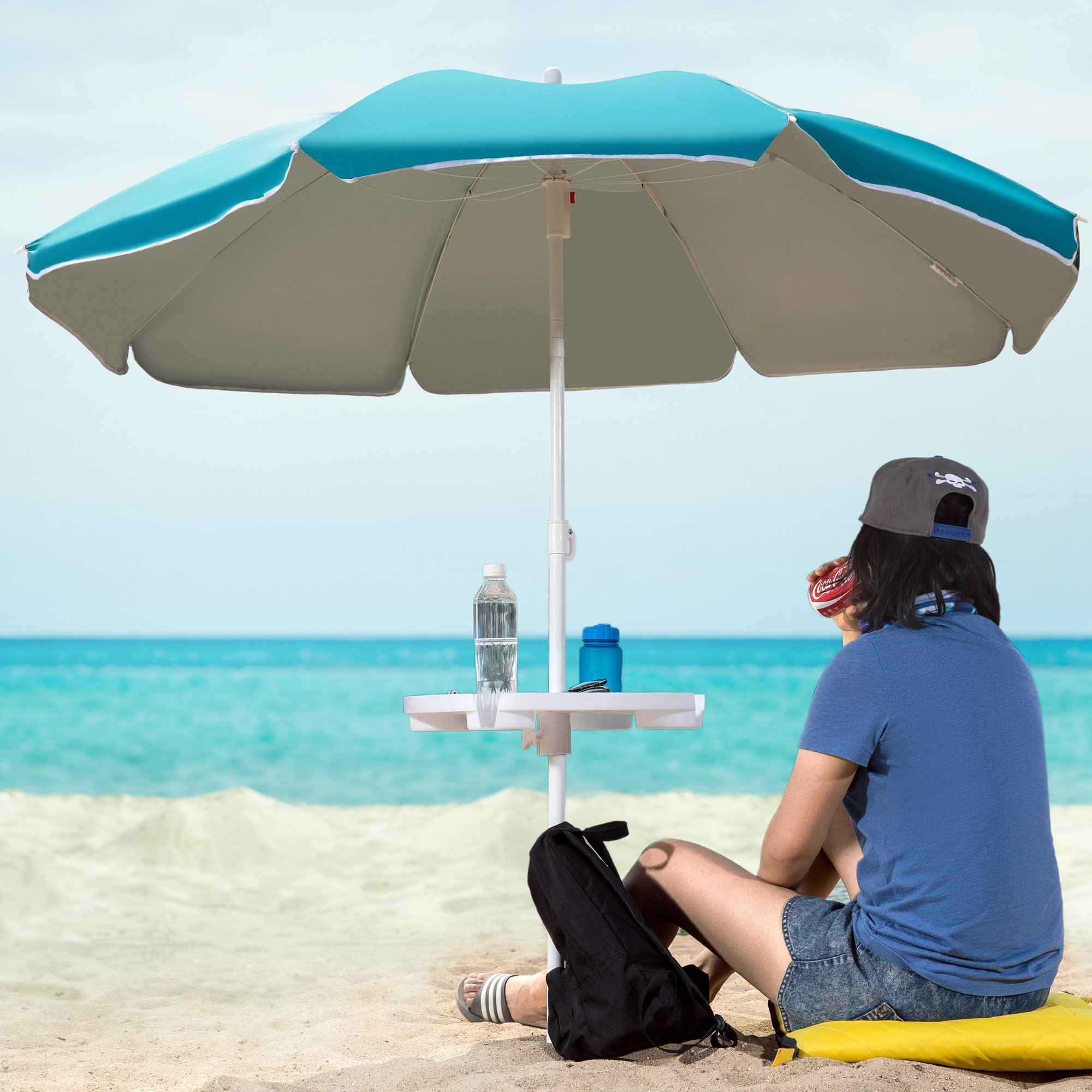 WeJoy Portable Beach Umbrella Table with 4 Cup Holders
