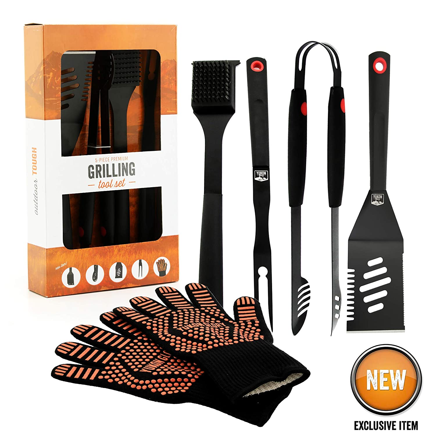 Yukon Glory YG-1455 Grill Tools Premium 5 Piece Grilling Utensils Kit, Durable Steel Tongs, Gloves, 3 in 1 Spatula, Flipper Fork, and Cleaning Brush, Signature Edition Gift Set, Black