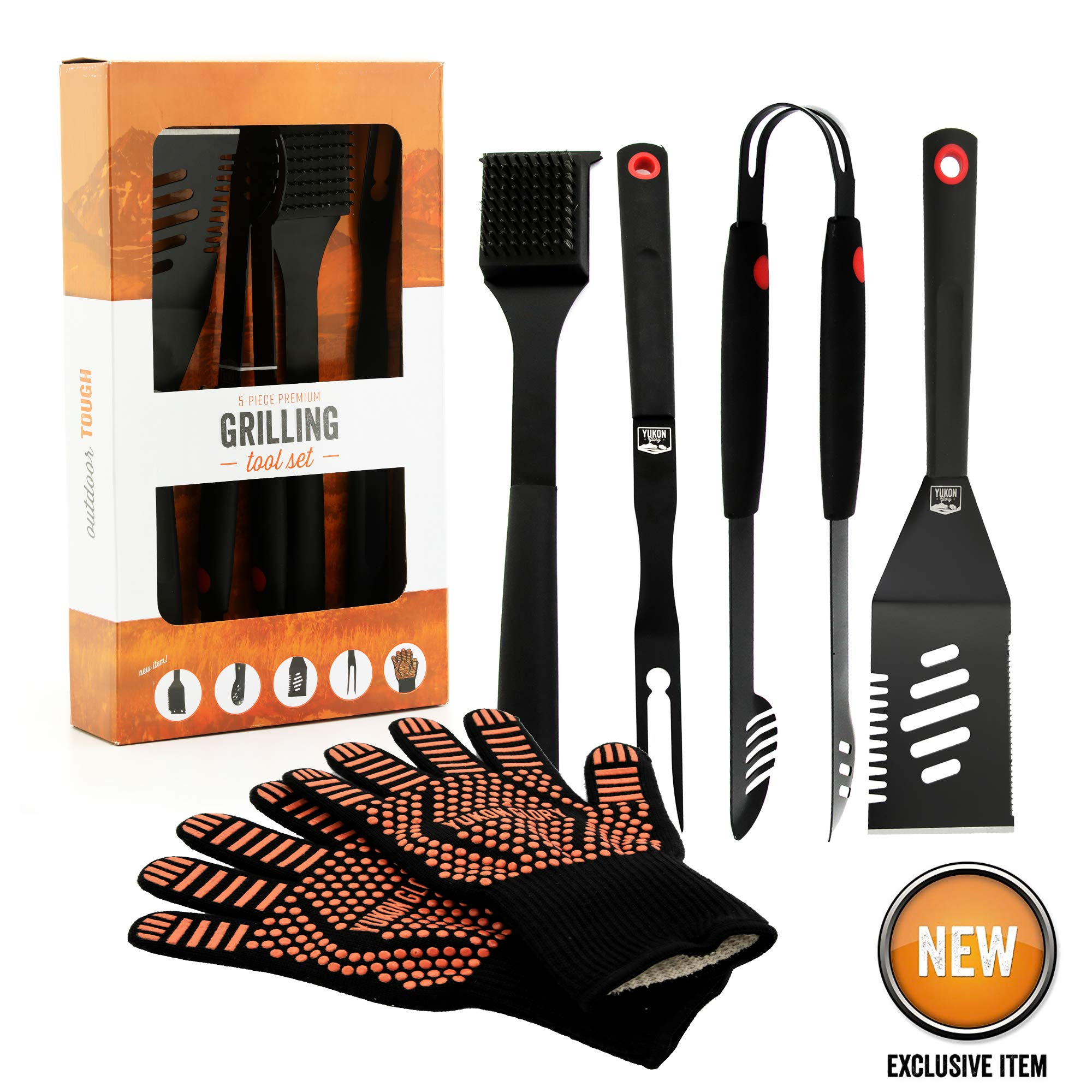 Yukon Glory Heavy Duty 5 Piece Grilling Tools Set, Durable Stainless Steel BBQ Accessories, Long Handle 3 in 1 Spatula, Tongs, Brush, Grill Fork, Thick Grilling Gloves, Gift Set by Yukon Glory
