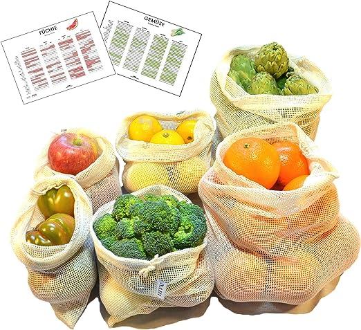 Bolsas Reutilizables de Algodón para Fruta y Verdura | Set de 6 Mallas de Algodón Sin