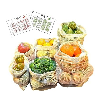 Bolsas Reutilizables de Algodón para Fruta y Verdura | Set de 6 Mallas de Algodón Sin Plástico (2S, 2M, 2L) y 2 Calendarios de Temporada | Bolsas ...
