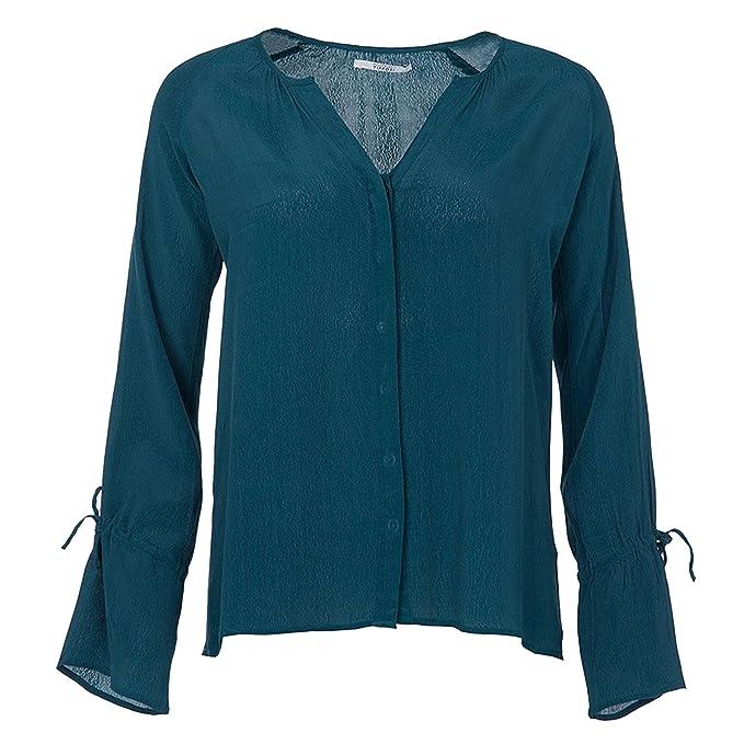 Blusa Mujer Abotonada Escote Pico. (M, Verde)