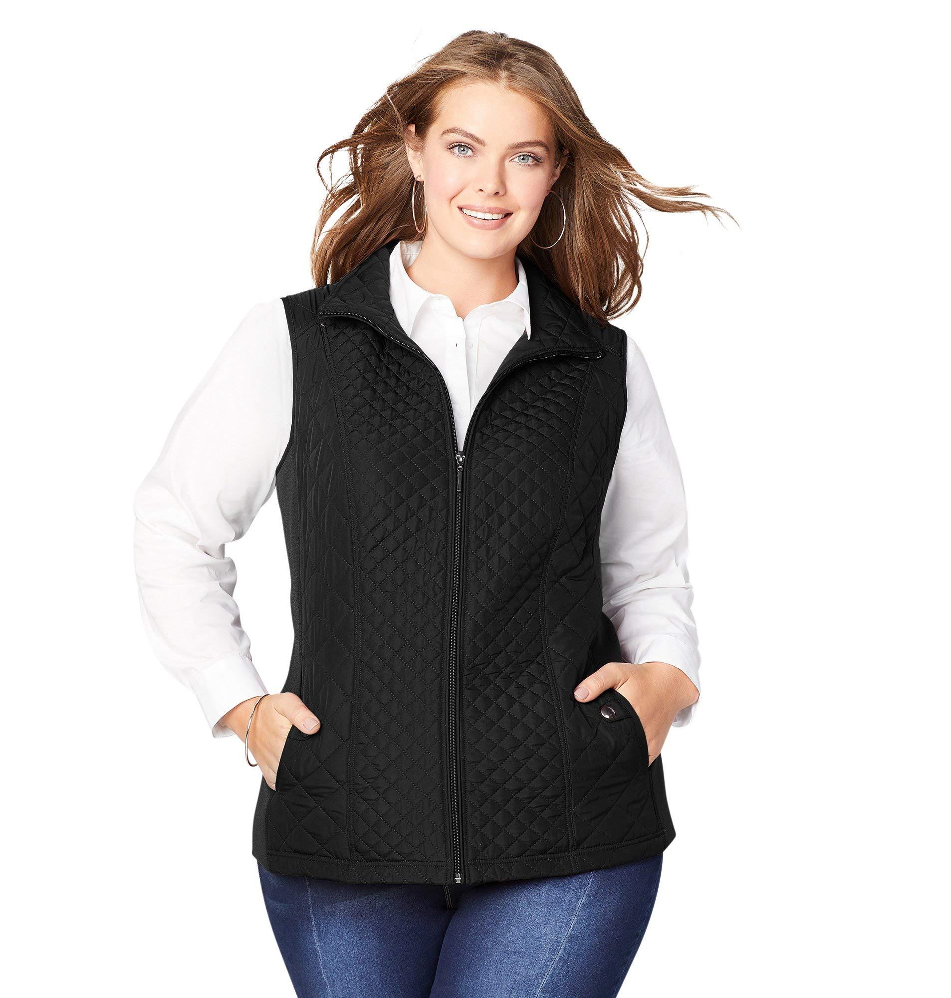 Avenue Women's Quilted Zip-Up Vest, 26/28 Black