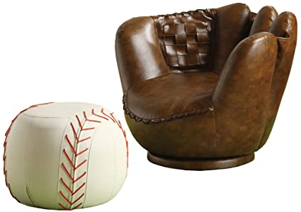 Amazon.com: Crown Mark Baseball Glove Chair/Ottoman: Kitchen & Dining