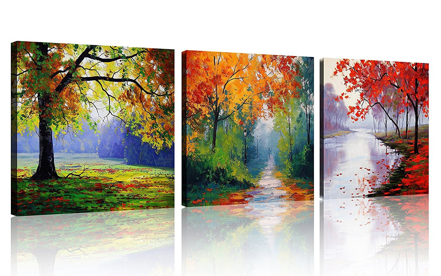 3 Panels Four Seasons Colorful Trees Wall Art on Canvas Painting with Stretched and Framed Ready to Hang for Home Deocrations (16x16inch x3pcs)