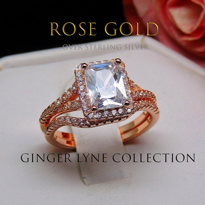 Nancy Rose Gold Over Sterling Engagement and Wedding Band Ring Set Ginger Lyne