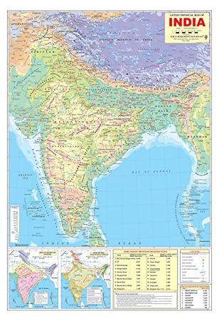 Latest India Map.Ibd Latest Physical Map Of India Pre School Double Side Laminated