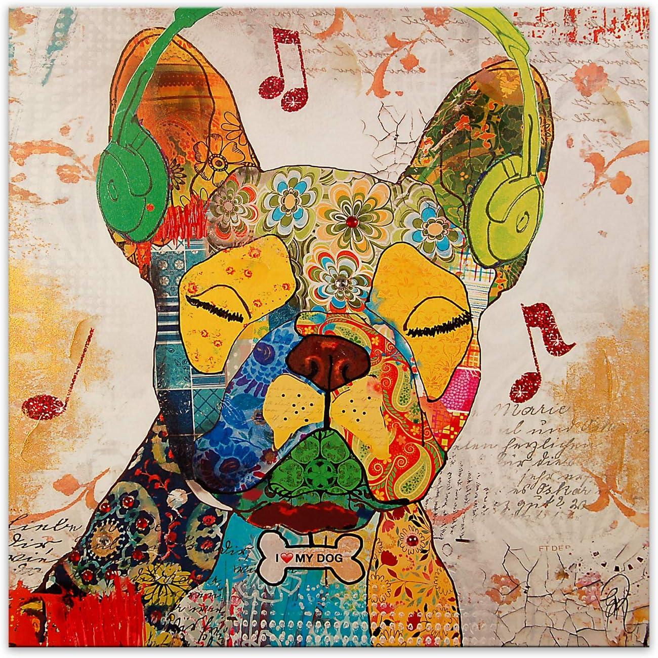 Bulldog francés Pop Art Cuadro, Grabado Moderno sobre Lienzo con Adornos en Relieve Hechos a Mano y montado sobre Bastidor estético Alto AS362X1