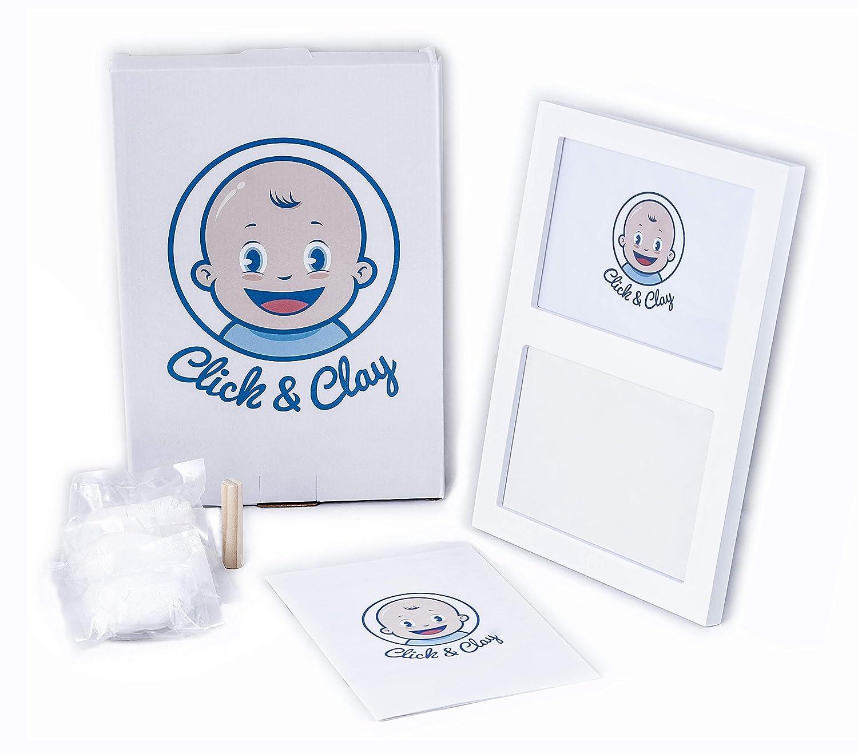 Blanco Click /& Clay Marco de Huellas de Mano y Pie para Beb/és,Regalo Bautizo Original para Reci/én Nacido