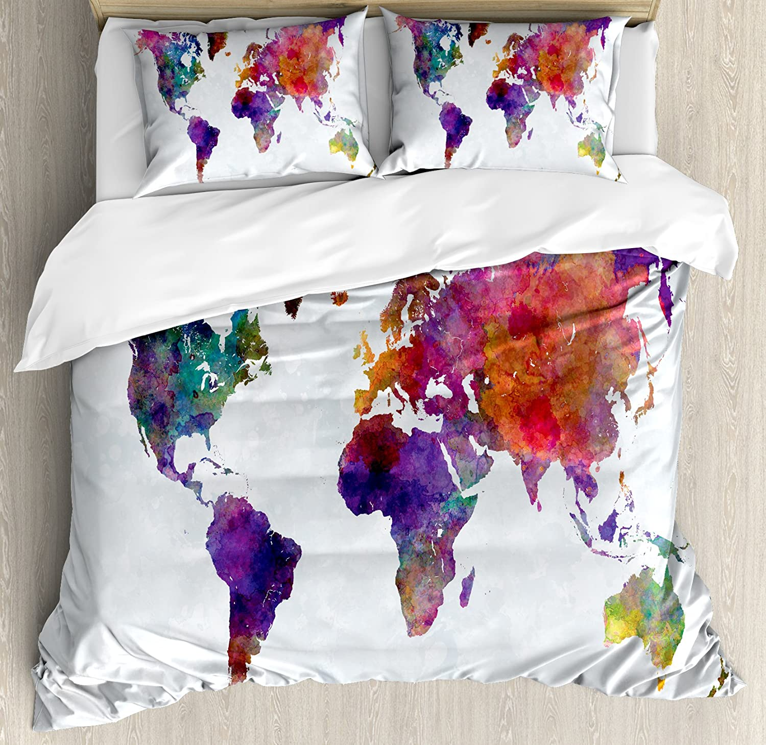 Ambesonne Watercolor Duvet Cover Set Queen Size, Multicolored Hand Drawn World Map Asia Europe Africa America Geography Print, Decorative 3 Piece Bedding Set with 2 Pillow Shams, Multicolor