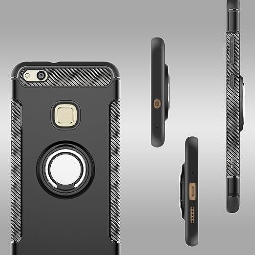 Or Mosoris Coque Huawei P10 Lite Silicone avec Anneau Kickstand avec Support Bague 360 Degr/és Rotation TPU Case Antichoc pour Huawei P10 Lite Compatible Le Support de Voiture Magn/étique