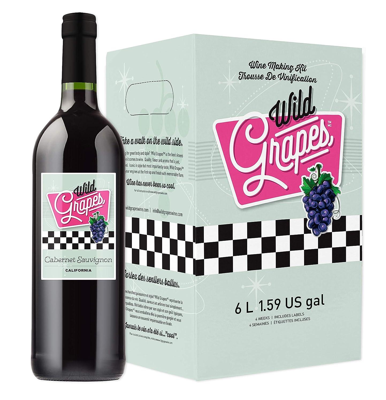 Wild Grapes Kit De Fabricación De Vino De Alta Calidad California Cabernet Sauvignon 6l Hace Hasta 30 Botellas 6 Galones De Vino Grocery Gourmet Food