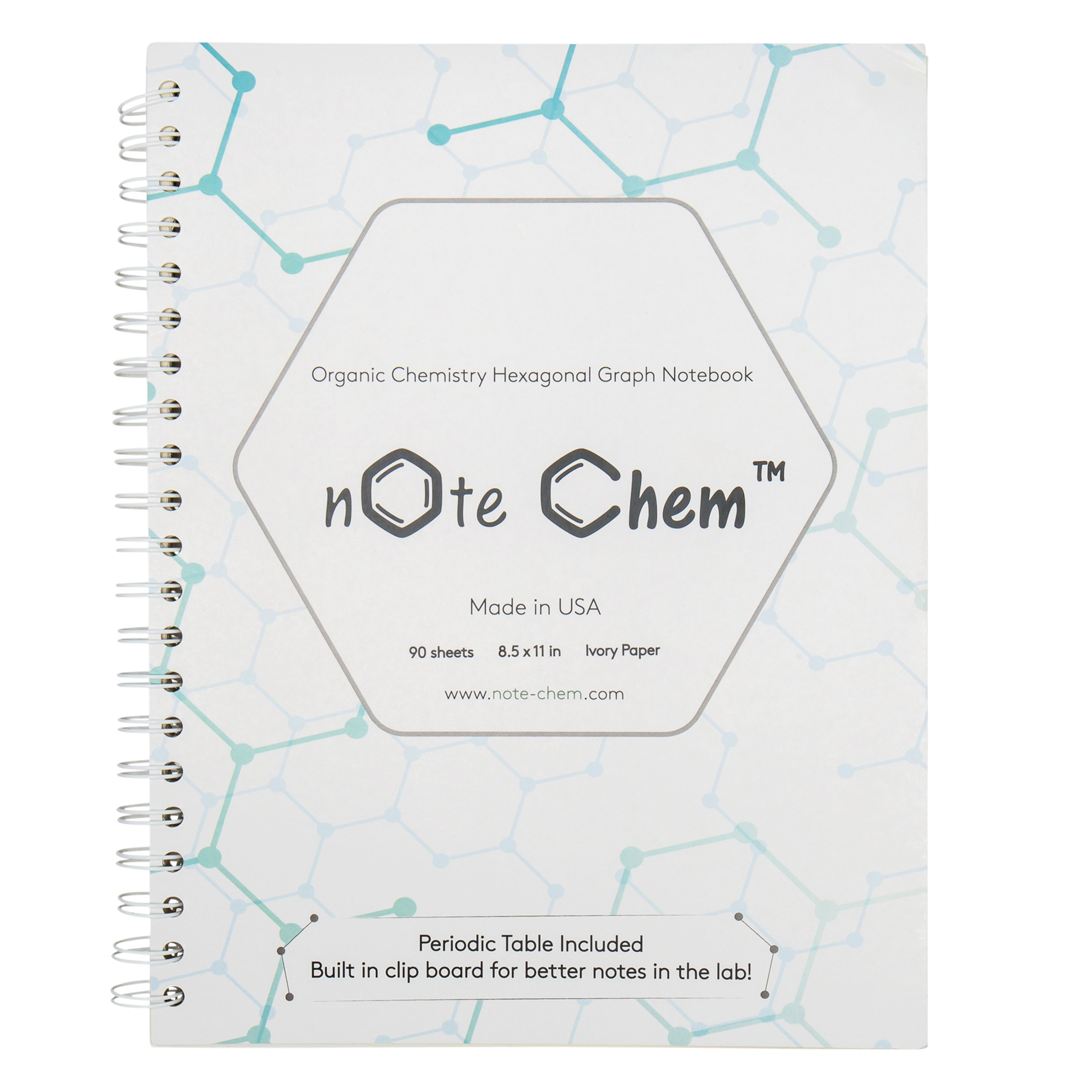Note Chem Hexagonal Graph Paper: Organic Chemistry Notebook, 180 Pages, With Periodic Table, By (Bierken)