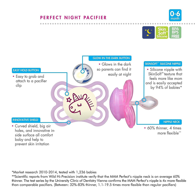 MAM Perfect Noche Glow-in-the-Dark Chupete Con Esterilizable caso del recorrido 0 Meses (Stars) (1 Pack)