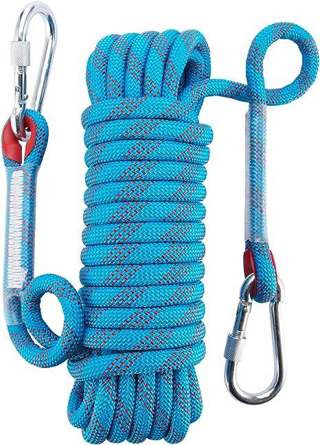 Cuerda de escalada para exteriores de Yiapinn, cuerda 12 mm de diámetro, cuerda estática de alta resistencia, de montañismo, para salvar vidas