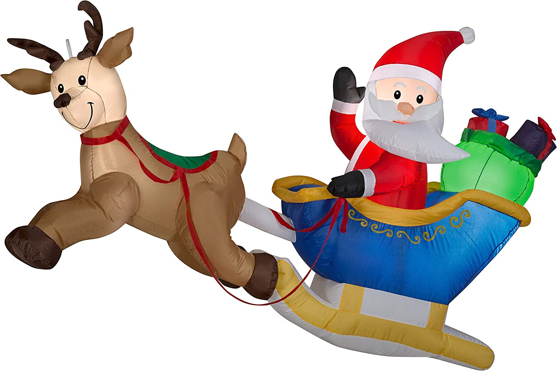 Gemmy Airblown-Hanging Santa and Reindeer Scene-MD