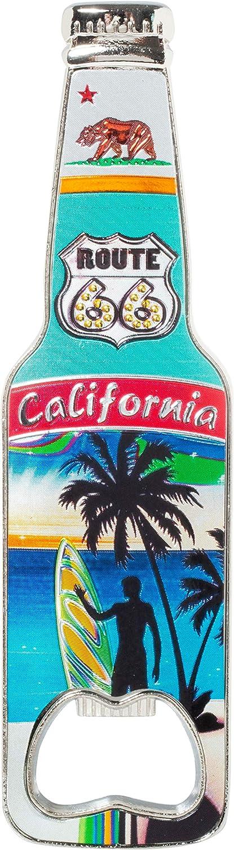 California Bottle Opener Heavy Duty Metal Souvenir Refrigerator Magnet (Route 66)