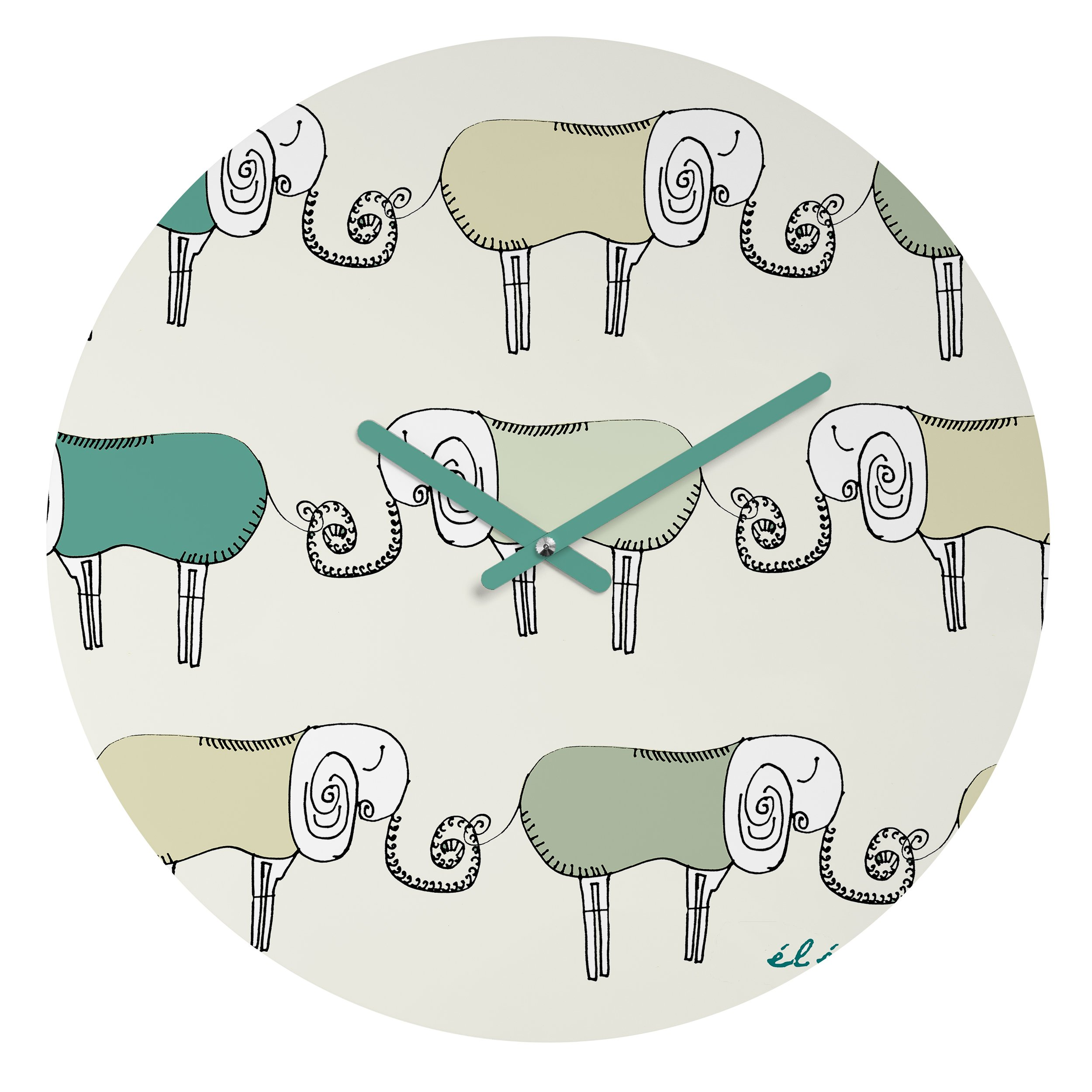 Deny Designs Brian Buckley, Les Elephants, Round Clock, Round, 12''