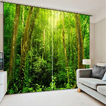 Amazon Com Wapel Livingroom Curtains Modern 3d Curtains Forest