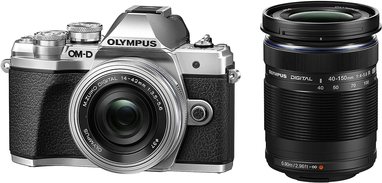 Olympus OM-D E-M10 Mark III, kit con cámara de sistema Micro Cuatro Tercios y objetivo M.Zuiko 14 - 42 mm EZ y teleobjetivo M.Zuiko 40 - 150 mm, plata/negro