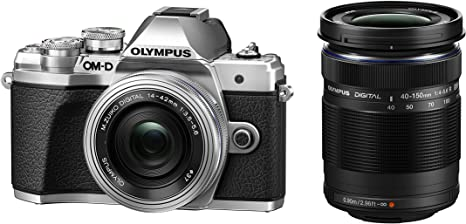 Olympus OM-D E-M10 Mark III Kit, Micro Four Thirds System Camera (16 MP, 5-Axis Image Stabilisation, Electronic Viewfinder) + Mo 14-42mm EZ Zoom Lens + Mo 40-150mm Tele Zoom, Silver/Black