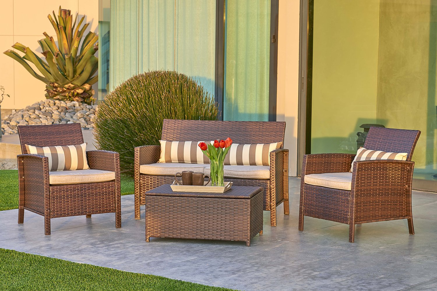 Solvista Outdoor 4-Piece Conversation Furniture Set with Coffee Table All Weather Brown Wicker with Light Brown Waterproof Cushions & Classic Gold Stripe Throw Pillow | Patio, Backyard, Pool by Solvista