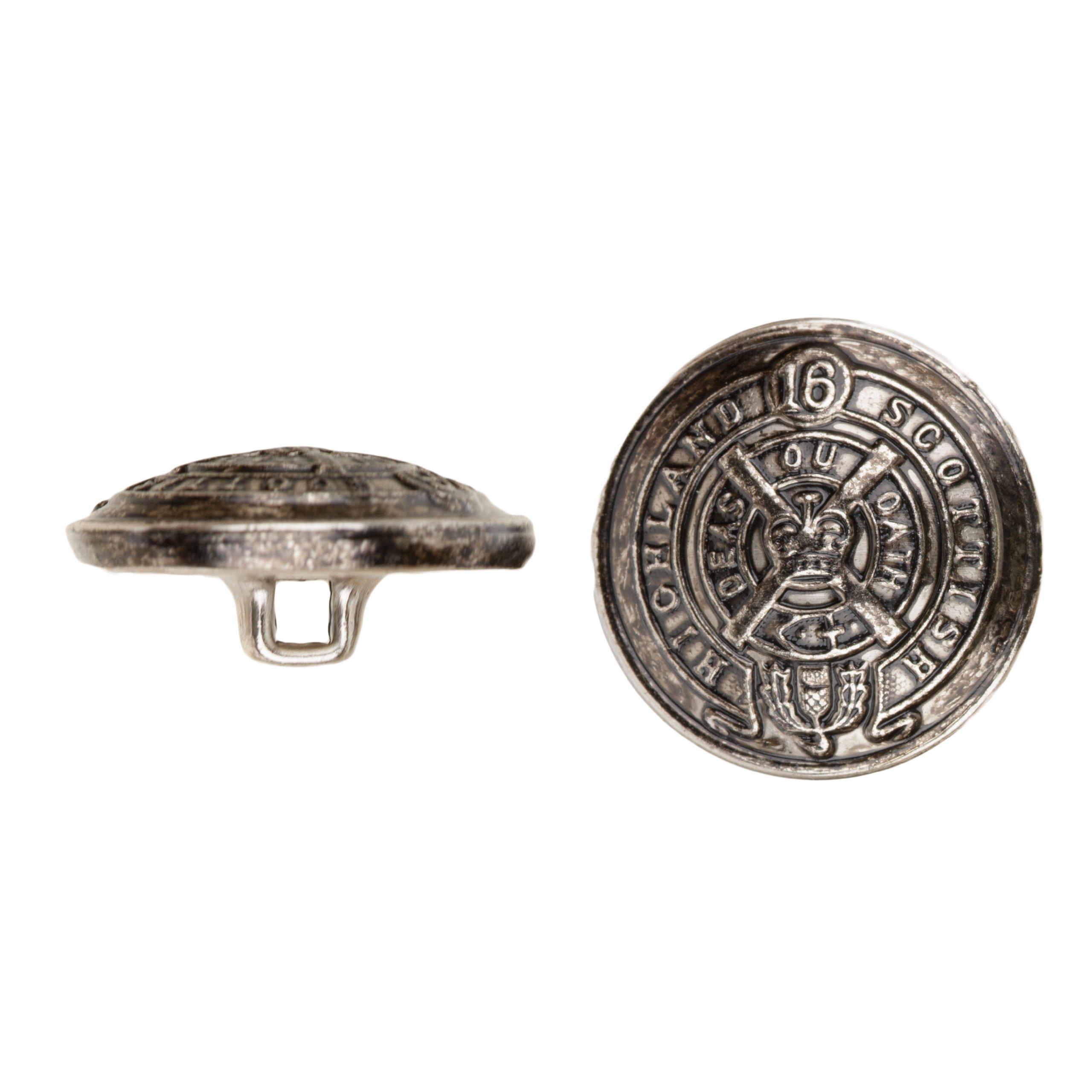 C&C Metal Products 5033 Heraldic Metal Button, Size 45 Ligne, Antique Nickel, 36-Pack