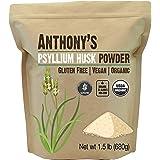 Anthony's Organic Psyllium Husk Powder, 1.5 lb, Gluten Free, Non GMO, Finely Ground, Keto Friendly