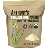 Anthony's Organic 98-Percent Pure Psyllium Husk, Batch Tested Gluten Free, Non-GMO, 680g