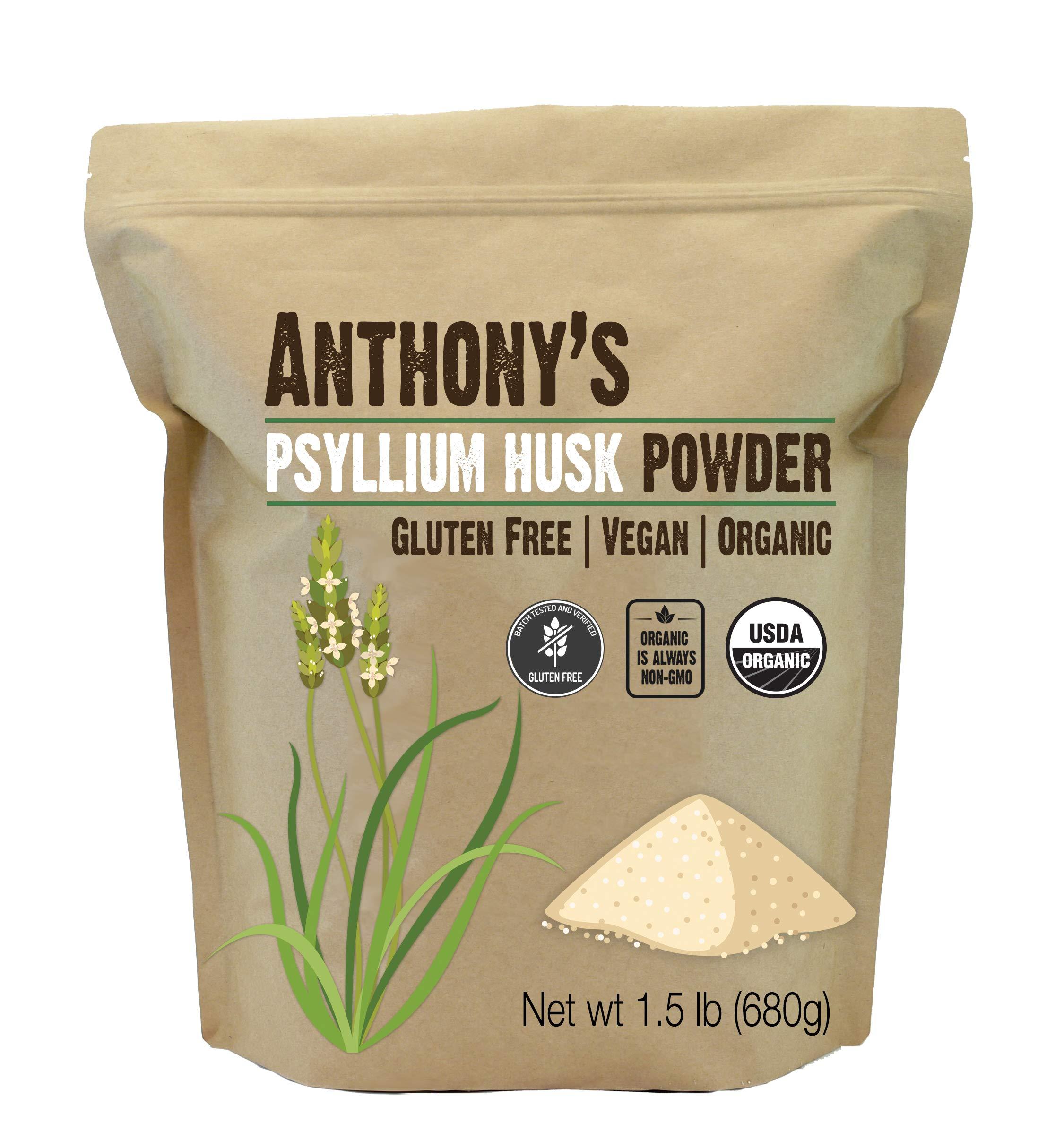 Anthony's Organic Psyllium Husk Powder, 1.5lb, Gluten Free, Non GMO, Finely Ground, Keto Friendly by Anthony's