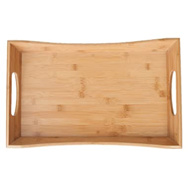 SB Trays Bamboo Serving Tray w/Handles: Serve food, coffee or tea, or use as a party platter; decorative rectangular ottoman tray