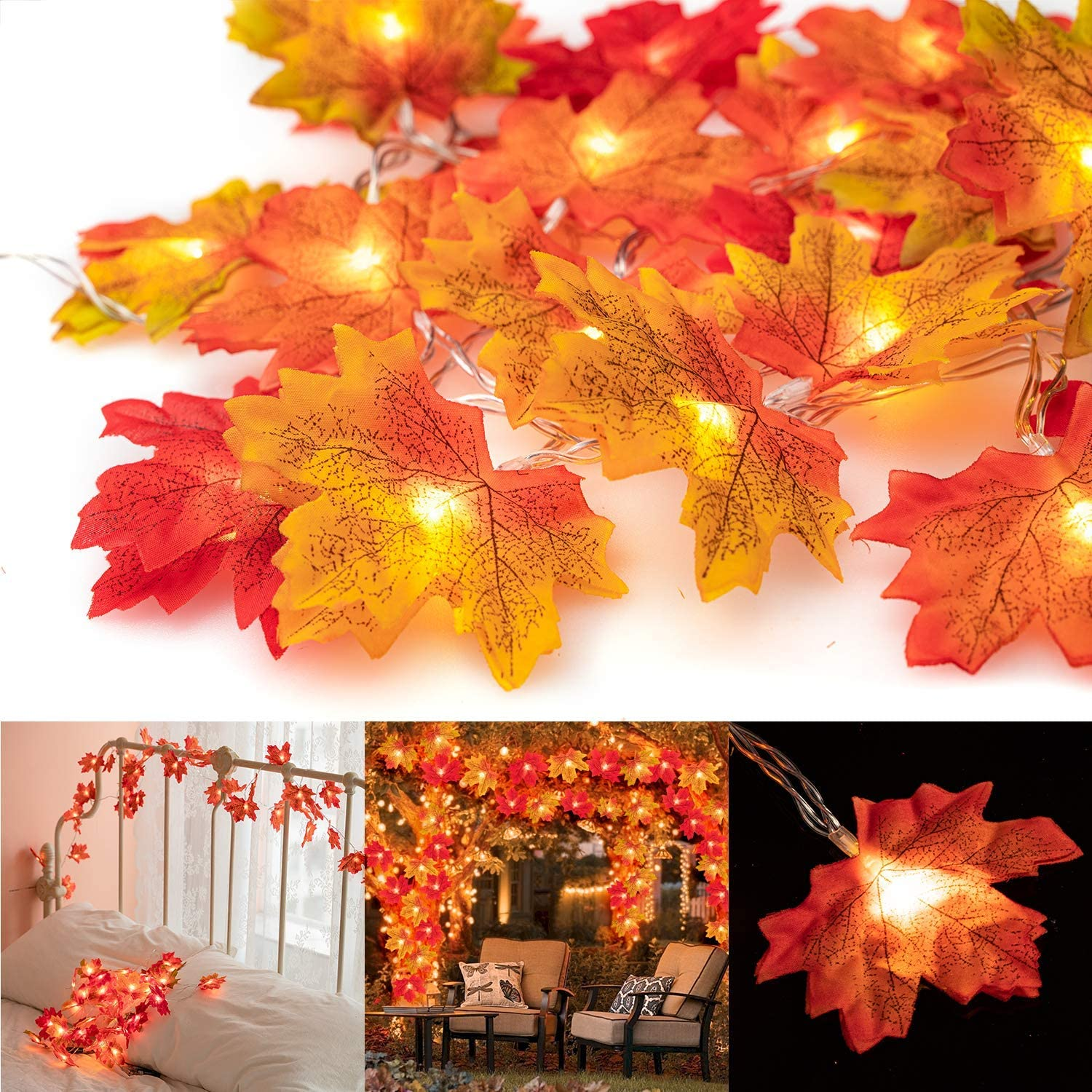 MUSCCCM String Lights Maple Leaf Light Twinkle Hanging Lighting Decorations for Indoor Outdoor Garden Halloween Thanksgiving Christmas Party Décor Gradient Color(20 Lights)